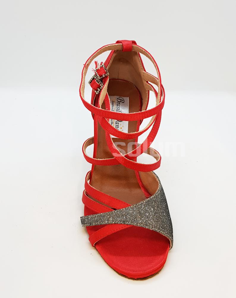 Sandália Vermelha Brilho Br Dance